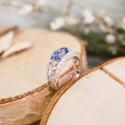 Bague Eléonore Saphir Ovale, Diamants & Or Blanc 18K