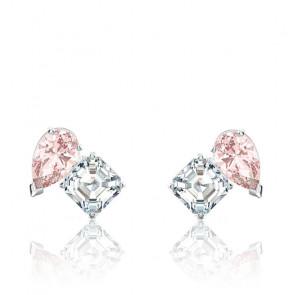 Boucles d'oreilles Attract Soul, rose, métal rhodié