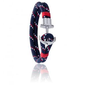 Bracelet Ancre Phreps Argenté Nylon Blue marine, Blanc et Rouge