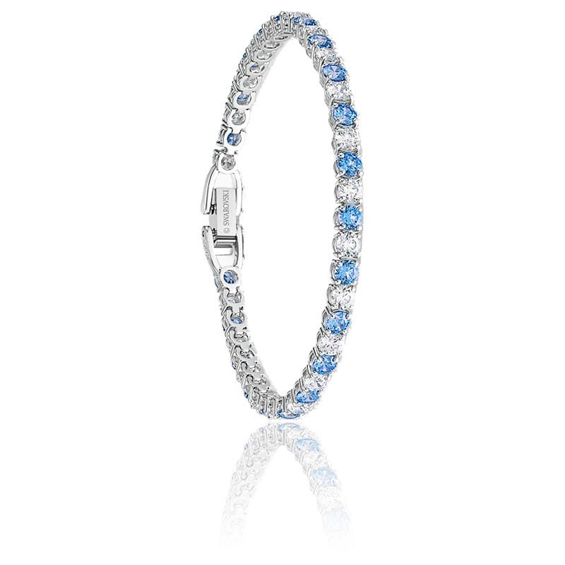 Bracelet Tennis Deluxe, bleu clair, métal rhodié