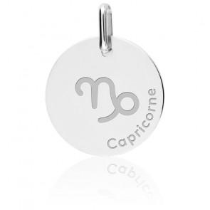 Médaille Zodiaque Capricorne or blanc