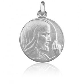 Médaille Christ Bénissant or blanc 18K 18mm