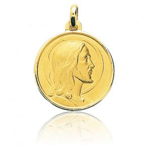 Médaille Christ Visage Serein Or jaune 18K