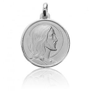 Médaille Christ Visage Serein Or blanc 18K