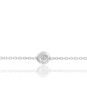 Bracelet or blanc 9K & diamant 0,025ct