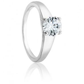 Bague Solitaire Déclaration, diamant 1,00 ct & or blanc 18K