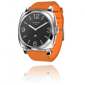 Montre Steel Cool Cadran Noir Bracelet Silicone Orange