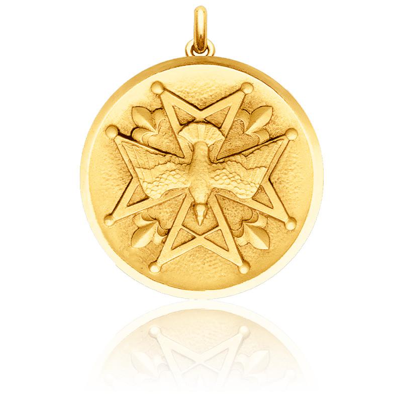 Médaille Huguenote Pleine Or Jaune 18K
