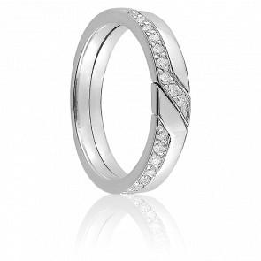 Alliance Elssa or blanc 9K & diamants