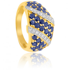 Bague Or Jaune 9K Diamants & Saphirs