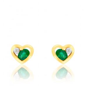 Boucles d'oreilles Coeur or jaune 9K Diamant & Emeraude