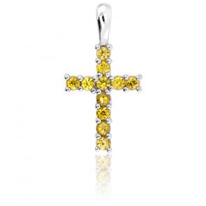 Pendentif croix Or blanc 9K & Saphir jaune