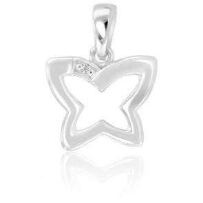 Pendentif  Papillon Or blanc 9K & Diamant
