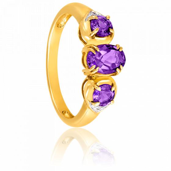 Bague Or jaune 9K Améthyste & Diamants
