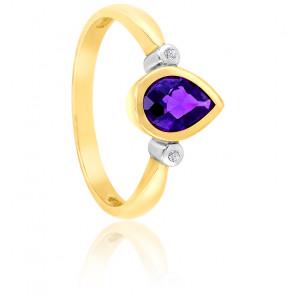 Bague Poire Or jaune 9K Améthyste & Diamants
