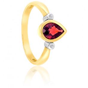 Bague Poire Or jaune 9K Grenat & Diamants