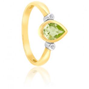 Bague Poire Or jaune 9K Péridot & Diamants