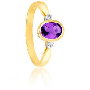 Bague Or jaune 9K Améthyste ovale et diamants