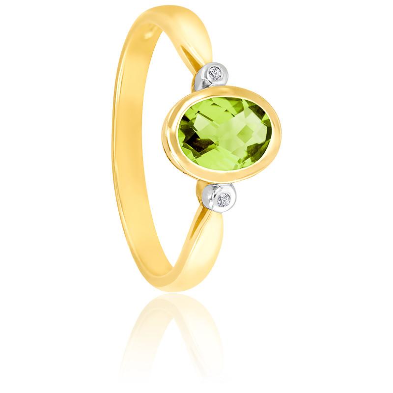 Bague Or jaune 9K Péridot ovale et diamants