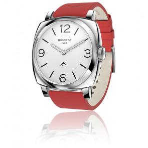 Montre Steel Cool Cadran Blanc Bracelet Cuir Rouge