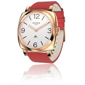 Montre Golden Chic Cadran Blanc Bracelet Cuir Rouge