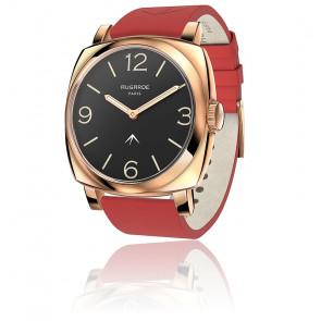 Montre Golden Chic Cadran Noir Bracelet Cuir Rouge