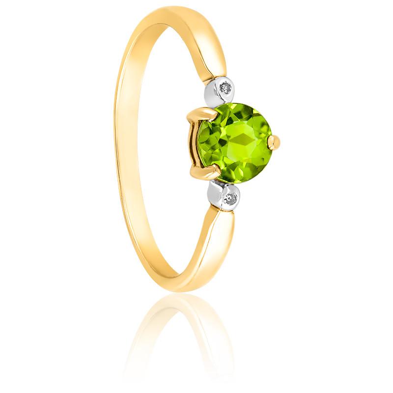 Bague classique Or jaune 9K Péridot & Diamants