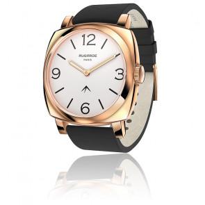 Montre Golden Chic Cadran Blanc Bracelet Cuir Noir