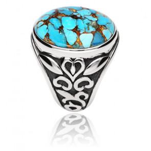 Bague symbol argent pierre turquoise