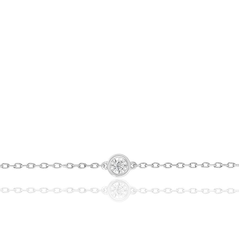 Bracelet diamant, or blanc 18 carats et argent