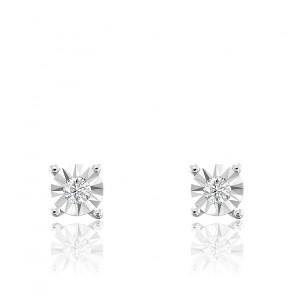 Boucles d'oreilles diamants, or blanc 18K et argent