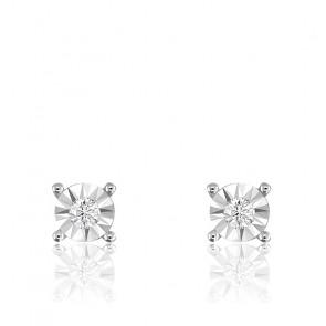 Boucles d'oreilles diamants, or blanc 18 carats et argent