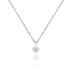 Collier diamant 0,04 ct, argent et or blanc 18K