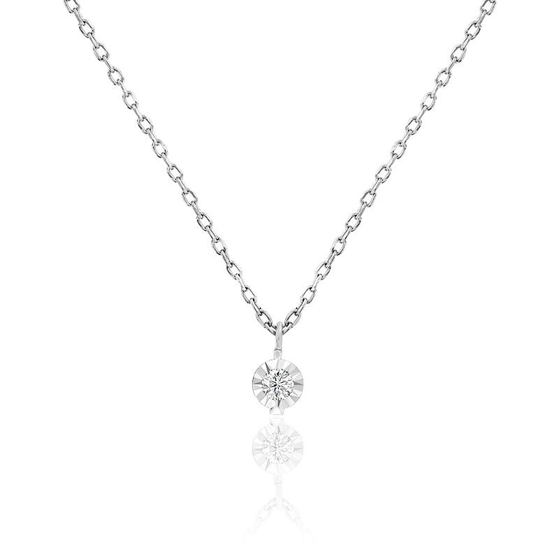 Collier diamant 0,045 ct, or blanc 18K et argent