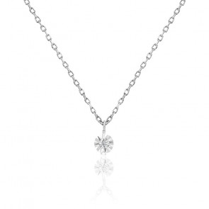 Collier diamant 0,025 ct, or blanc 18K et argent