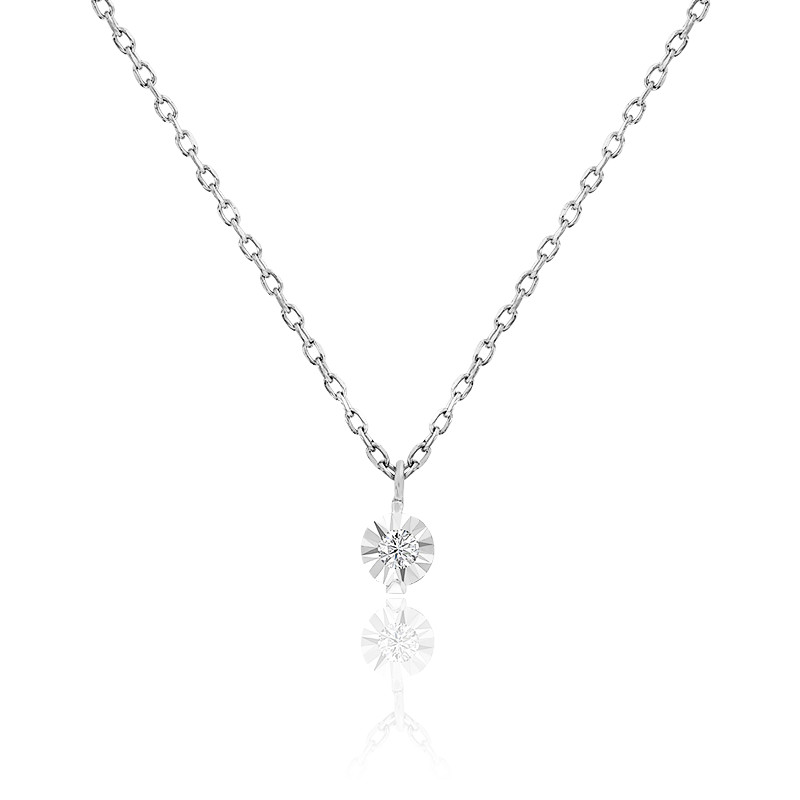 Collier diamant 0,025 ct, or blanc 18K et argent