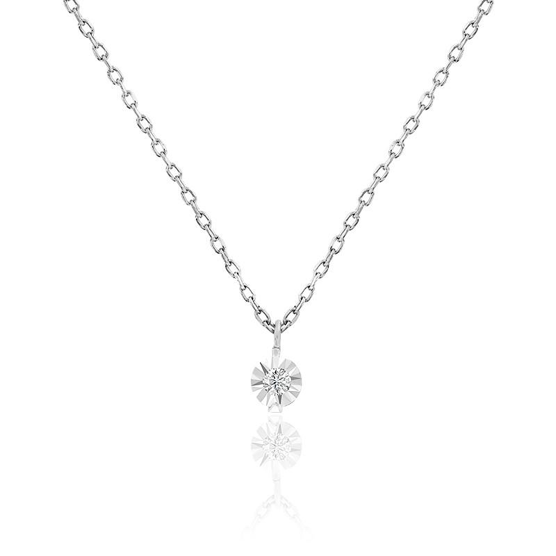 Collier diamant 0,03 ct, argent et or blanc 18K