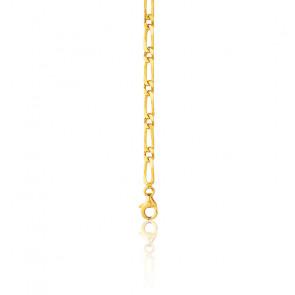 Chaîne cheval alternée, plaqué or jaune 18K, longueur 55 cm