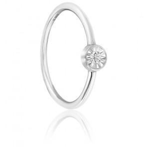 Bague solitaire diamant, or blanc 18K et argent
