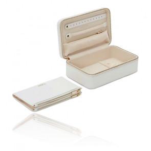 Boîte à Bijoux Voyage Zip Cuir Blanc Maria