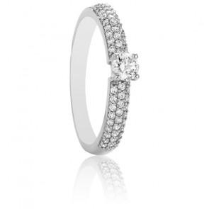 Solitaire Roxane, diamants GVS & or blanc 18K