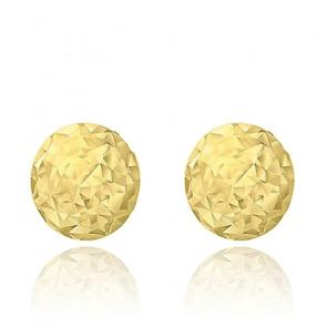 Boucles d'oreilles boules diamantées, Or jaune 9K