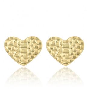 Boucles d'oreilles Coeur Incurvé Or jaune 9K