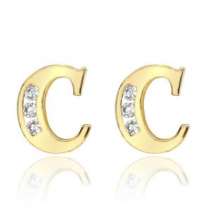 Clous d'oreilles lettre C Or jaune 9K & Zirconium