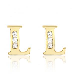 Clous d'oreilles lettre L Or jaune 9K & Zirconium