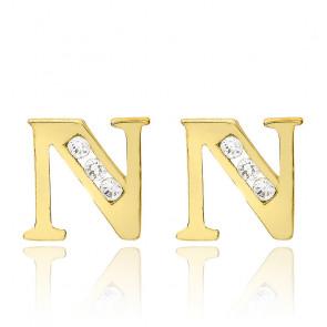 Clous d'oreilles lettre N Or jaune 9K & Zirconium