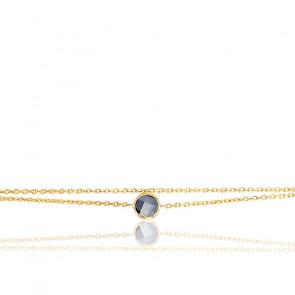 Bracelet argent doré & oxyde bleu saphir serti clos