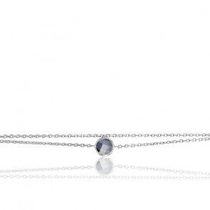 Bracelet argent & oxyde bleu saphir serti clos