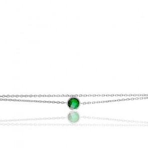 Bracelet argent & vert émeraude serti clos
