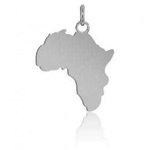Pendentif Afrique or blanc 9K